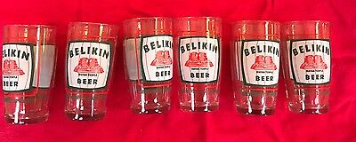 Set of 6 Vintage BELIKIN Belize Mayan Temple Advertising Beer Bar Glasses Rare