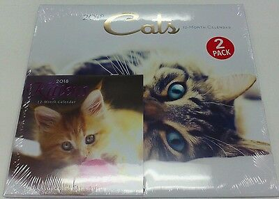 """Cats Kittens 2018 Calendar 12 Month Large 12"""" X 11"""" Small 6"""" X 6""""  2 Pack"""