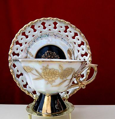 ROYAL SEALY CHINA LUSTER WARE TEACUP RETICULATED SAUCER tea cup JAPAN