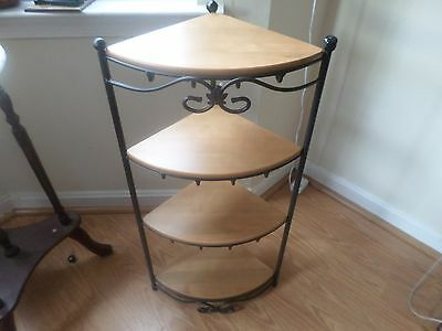 Longaberger Wrought Iron Corner Stand With 4 Maple Shelves