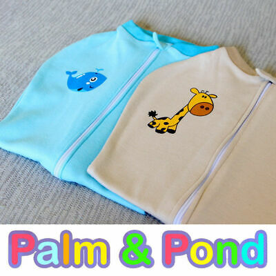 Twin set Palm and Pond Baby Swaddle Pod *Easy-Zip* Pouch 0-3 months