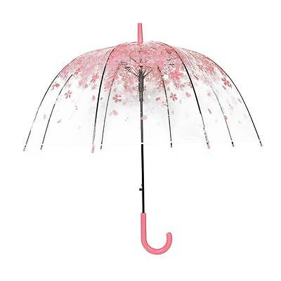 Beautiful Cherry Blossom Transparent Umbrella Clear Dome Bubble Umbrella Pink