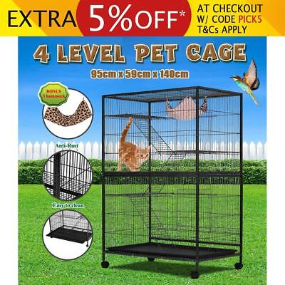 4 Levels Pet House Cat Hamster Rat Budgie Bird Parrot Cage Aviary With Wheels