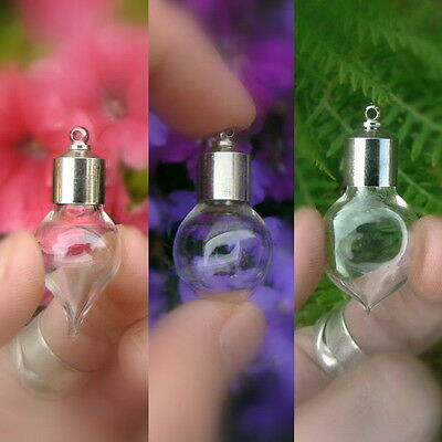 Glass Vials Pendants 8mm Tear/Globe/Heart-shaped with metal cap bottles/small