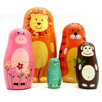 Set of 5Pcs Russian Wooden Nesting Dolls Matryoshka Animal Pattern Kids Gifts BA