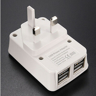 UK Mains Wall Charger 3 Pin Plug Adaptor with 4 USB Ports for Phone /Tablet