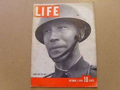 LIFE MAGAZINE - 3rd OCTOBER 1938 - ARMS AND THE MEN - SEE IMAGES FOR CONTENTS