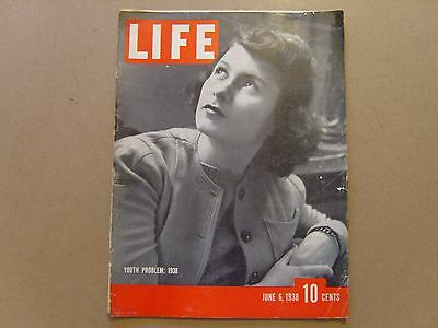 LIFE MAGAZINE - 6th JUNE 1938 - YOUTH PROBLEM: 1938 - SEE IMAGES FOR CONTENTS