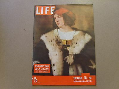 LIFE MAGAZINE INTERNATIONAL EDITION - 15th SEPTEMBER 1947 - IMAGES FOR CONTENTS