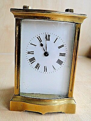 A Vintage French Brass Clockwork Carriage Clock