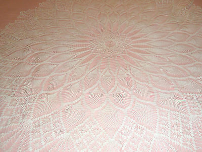 "Vintage Crocheted Table Cover 45"" Round White Gorgeous"