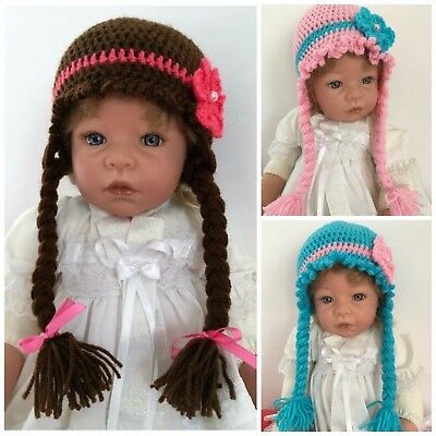 ***Made To Order Girl's Cute Hair Plait Crochet Hat with Flower All Sizes  ***