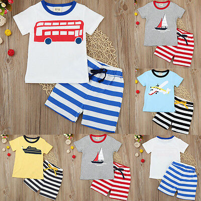 2PCS Summer Toddler Kids Baby Boy T-Shirt Tops+Beach Shorts Pants Outfit Clothes