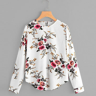 Fashion Women Floral Long Sleeve Blouse T Shirt Casual Party Chiffon Loose Tops