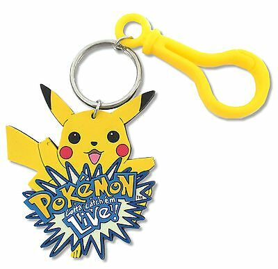Pokemon Live! Pikachu Logo Rubber Keychain New Official