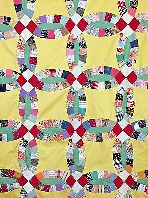 Antique Double Wedding Ring Quilt Top in Feed Sack Fabrics 1920's and 1930's