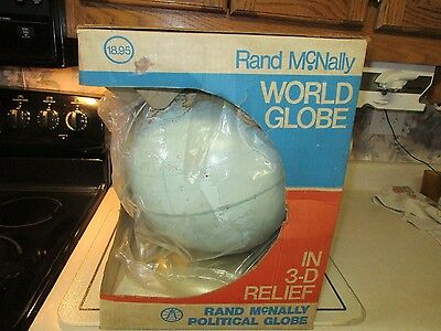 "Vintage Rand Mcnally Political Globe 12"" Diameter Raised Relief Metal Stand Nib"