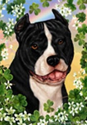 Large Indoor/Outdoor Clover Flag - Black & White American Pit Bull 31405