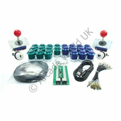 2 PLAYER ARCADE Joysticks Buttons And I-PAC2 Wiring Kit No10