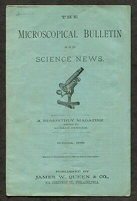 1888 Antique Microscope Magazine The Microscopical Bulletin Oct. 1888 issue
