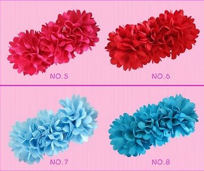 "16 BLESSING Good Girl Boutique 4.5"" Pompon Hair Bows Clip Accessories Flower"