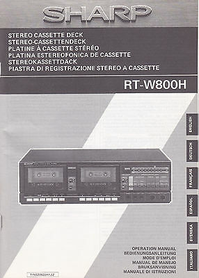 Bedienungsanleitung Sharp RT-W800H Stereo Cassette Deck Operation Manual