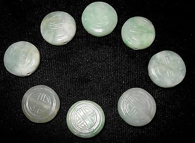 8 Vintage Chinese Hand Carved Round Green Jade Disc Beads Good Luck Fortune NOS