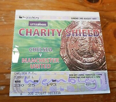 TICKET: FA CHARITY SHIELD 1997 Chelsea v Man Utd Almost MINT condition