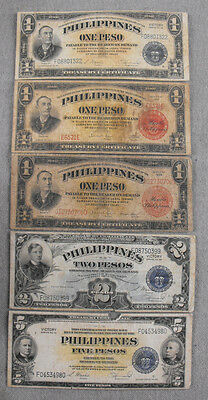 Philippines 1, 2, & 5 Pesos 1936 & Series 66 Banknotes America Wwii Paper Money