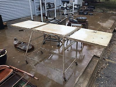 Old Antique Medical Exam Table - All Metal - Caster Wheels Adjustable Industrial