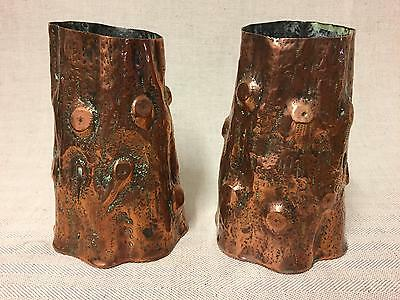 Fine Arts & Crafts Repousse Copper Tree Trunk Vases, Keswick Newlyn Liberty Era