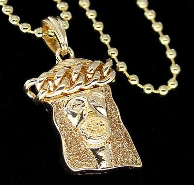 """Hip Hop Jesus Piece 4mm Bead Chain 28"""" Gold Plated Bling Pendant Combo"""