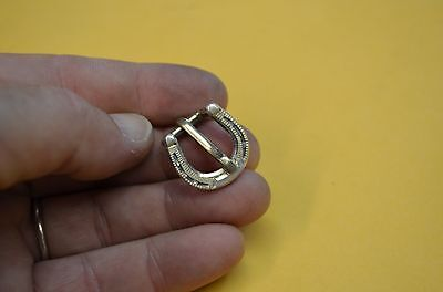 FLEMING Sterling Silver Mini Horseshoe Rodeo Headstall Halter Strap Buckle 3/8""