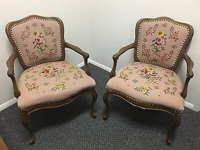 Lovely Pair of Vintage Needlepoint Upholstered Arm Chair