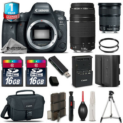 Canon 6D Mark II Camera + 24-105mm STM + 75-300mm +EXT BATT+ 32GB + 1yr Warranty