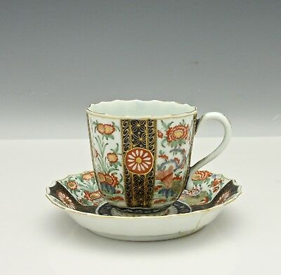 18th Century Worcester Porcelain Cup & Saucer Hand Decorated