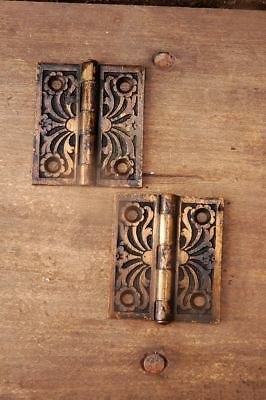 "Antique Victorian Hinges 1 pair 2"" x 1-3/4"" Cast Bronze AH02131703"