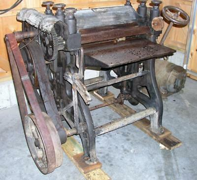 "Antique 24"" Wood Thickness Planer Woodworking Woodworkers Carpenter Belt Drive"