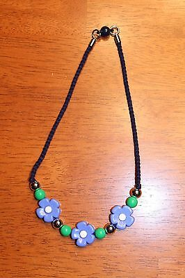 New Gymboree Spring Prep Necklace Accessory Jewelry Blue Green Silver Flowers