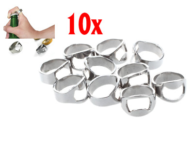 10x Finger Thumb Ring Bottle Opener Bar Beer Tool Silver Stainless Steel