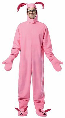 A Christmas Story ADULT BUNNY SUIT Costume Pink Pajamas Ralphie Rabbit LICENSED