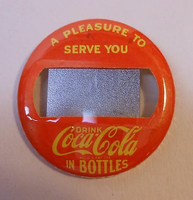 """Vintage Coca Cola 1950's-60's """"Name Tag"""" Pin Back Button R"""
