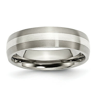 Titanium Sterling Silver Inlay 6mm Brushed Band TB210