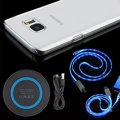Qi Wireless Charger+LED Cable+Clear Case For Samsung Galaxy S8 S9+Note 8 S7 Edge