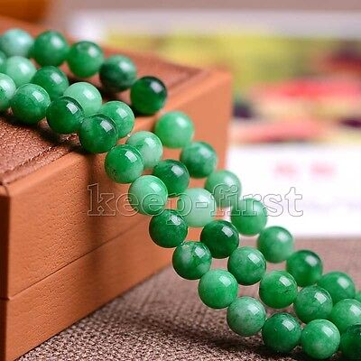 "12mm Genuine Natural Green Jadeite Jade Round Gemstone Loose Beads 15"" AAA DIY"
