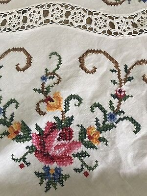 Vintage CROSS Stitch ROUND Tablecloth & 8 Napkins Beautiful