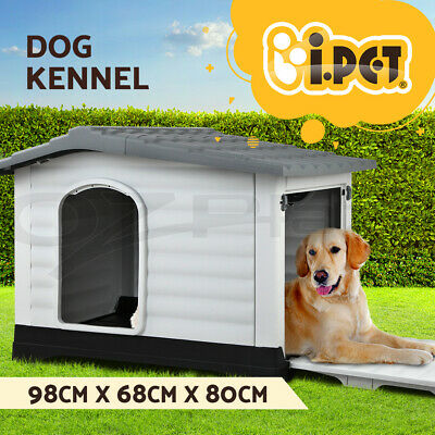 Pet Plastic Dog Kennel Weatherproof Outdoor Indoor Garden House 2 Door XXLarge