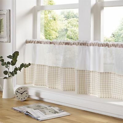 "Beige And White Gingham 59"" X 18"" – 150Cm X 45Cm Kitchen Cafe Curtain Panel"
