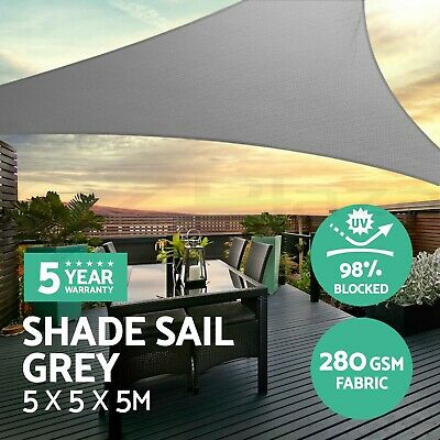 Instahut Sun Shade Sail Cloth Shadecloth Outdoor Canopy Triangle 280gsm 5x5x5m