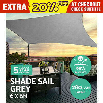 Sun Shade Sail Cloth Shadecloth Outdoor Canopy Awning Square 280gsm 6x6m